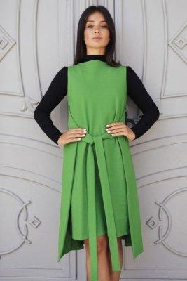 B126 Sukienka tunika bez rękawów - limonkowa