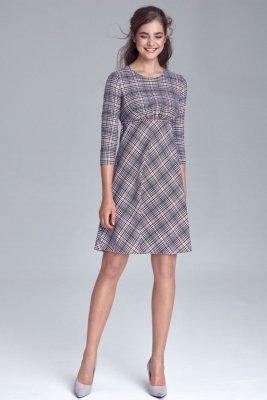Sukienka odcięta pod linią biustu - krata/pepitko - S130