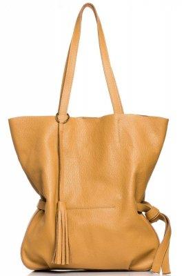 SB700 Stylowa torebka z ozdobnymi frędzlami - ruda