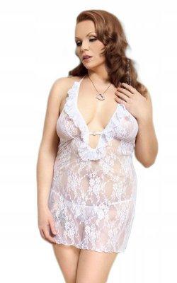 Carmen white - Plus Size - 1742 koszulka i stringi