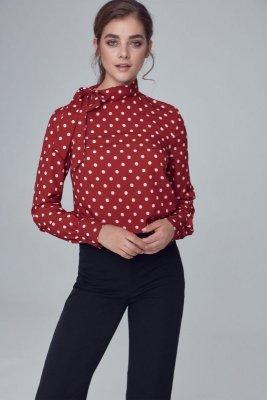 Bluzka z wiązaniem na boku - bordo/grochy - B103