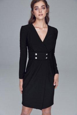 Sukienka z pasem ozdobionym napami - czarny - S122