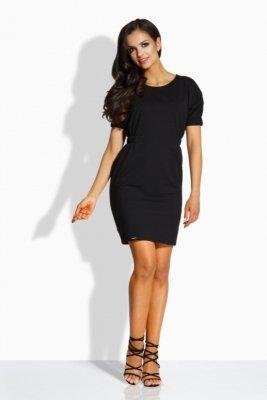 1 L206  Klasyczna sukienka z gumkami czarny PROMO