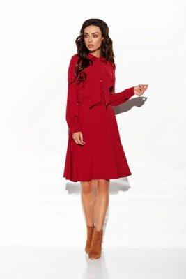 Sukienka wiązana przy szyi kolor L310 bordo