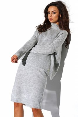 Komplet sweter półgolf i spódnica LS260 jasnoszary