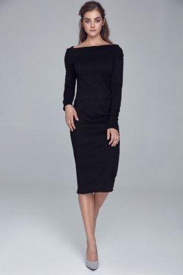 Sukienka dzianinowa z golfem - czarny - S126