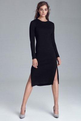 Sukienka dzianinowa z rozcięciami po bokach - czarny - S121