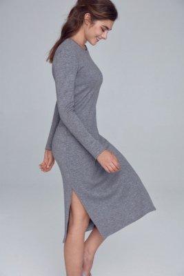 Sukienka dzianinowa z rozcięciami po bokach - szary - S121