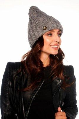 Klasyczna zimowa czapka damska LC112 jasnoszary