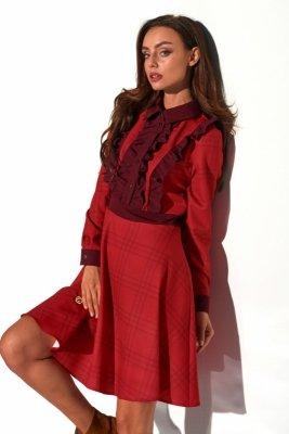Sukienka krata z żabotem L321 druk 5