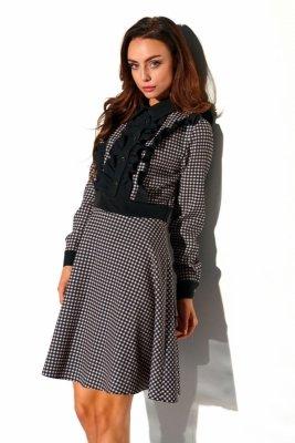 Sukienka krata z żabotem L321 druk 6