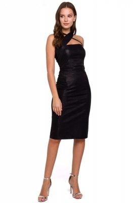 K016 Sukienka z dekoltem na krzyż - czarna