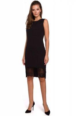 K019 Sukienka z koronką u dołu - mała czarna