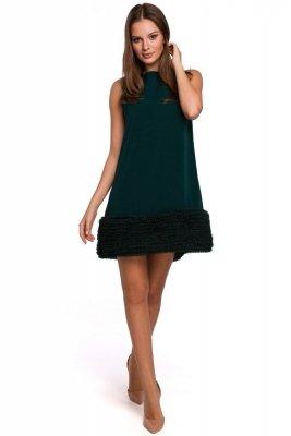 K038 Sukienka z pasem marszczonego tiulu - zielona