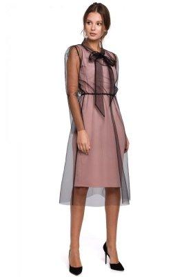 K039 Sukienka tiulowa z wiązaniem przy szyi - pudrowa