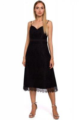 M483 Sukienka na ramiączkach z ręcznie ciętej koronki - czarna