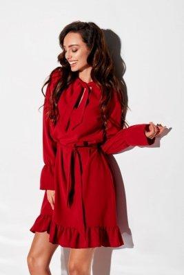 Sukienka z falbanką i wiązaniem przy szyi kolor L 317 bordo
