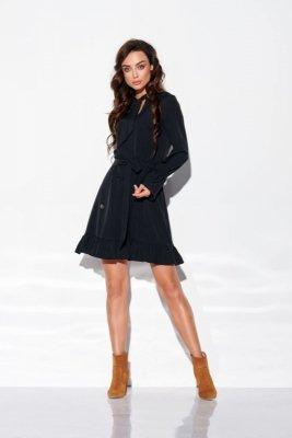 Sukienka z falbanką i wiązaniem przy szyi kolor L 317 czarny