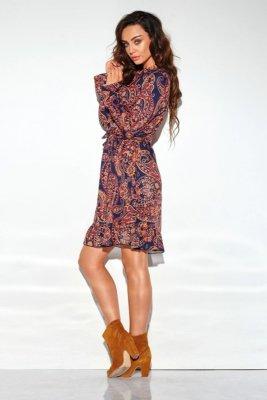 Sukienka z falbanką i wiązaniem przy szyi wzór LG509 druk 2