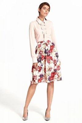 Rozkloszowana spódnica do kolan w modne kwiaty - SP40