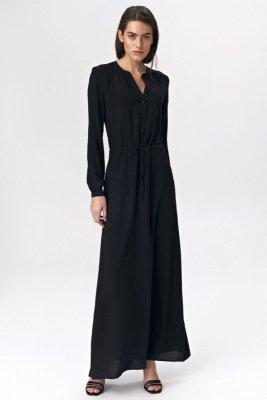 Czarna sukienka maxi - S135