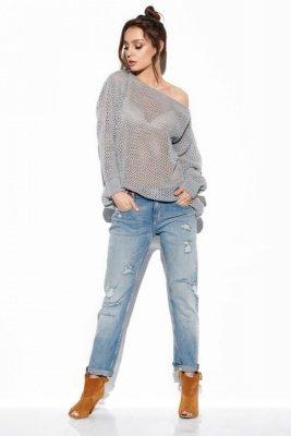 Ażurowy lekki sweter LS280 jasnoszary