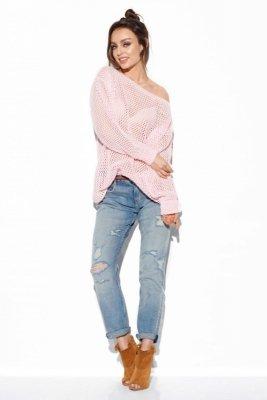 Ażurowy lekki sweter LS280 pudrowy róż