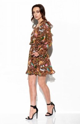 Szyfonowa sukienka z jedwabiem i kopertowym dekoltem wzór LG516 druk 13