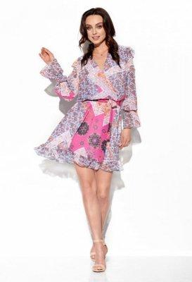 Szyfonowa sukienka z jedwabiem i kopertowym dekoltem wzór LG516 druk 16