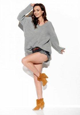 Sweter z dużym dekoltem V LS292 jasnoszary
