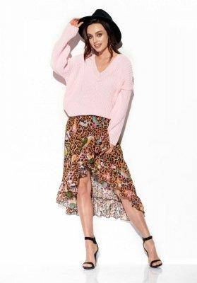 Sweter z dużym dekoltem V LS292 pudrowy róż