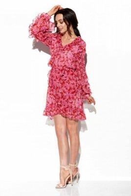 Szyfonowa sukienka z jedwabiem i falbankami wzór LG517 druk 17