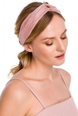K069 Plisowana opaska do włosów - różowa