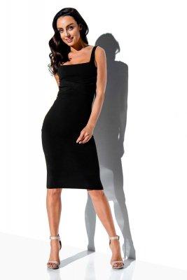Bawełniana sukienka z kwadratowym dekoltem LN117 czarny
