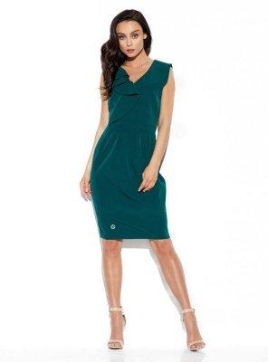 Elegancka sukienka z falbaną L337 ciemna zieleń
