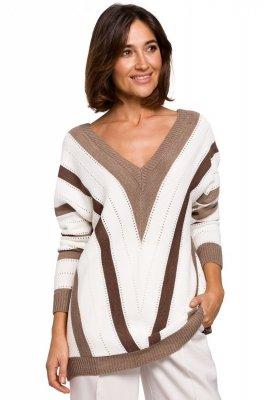 S218 Sweter w serek - brązowy