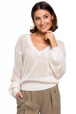 S219 Sweter z dużymi oczkami - ecru