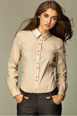 Beżowa koszula z podwójnymi guzikami - K38