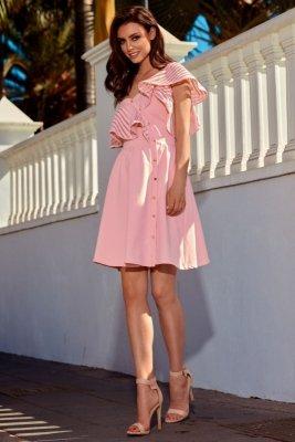 1 Sukienka koktajlowa na jedno ramię L246 morela PROMO