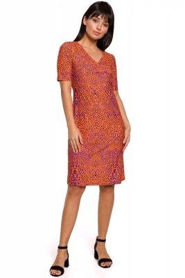 B140 Sukienka z nadrukiem i marszczeniem na przodzie - pomarańczowa