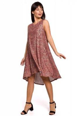 B141 Sukienka z nadrukiem bez rękawów - łososiowa