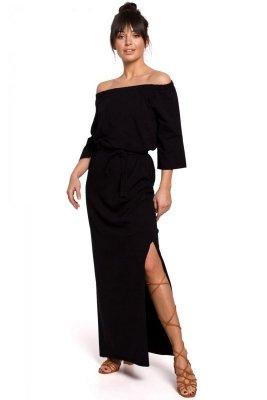 B146 Sukienka maxi z dekoltem rozkładanym na ramiona - czarna