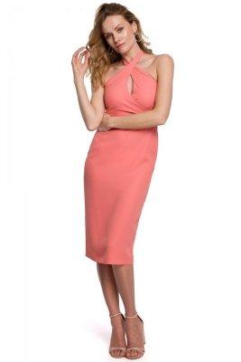 K043 Sukienka wiązana wokół szyi - pomarańczowa