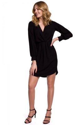 K044 Sukienka z zakładkami i bufiastymi rękawami - czarna