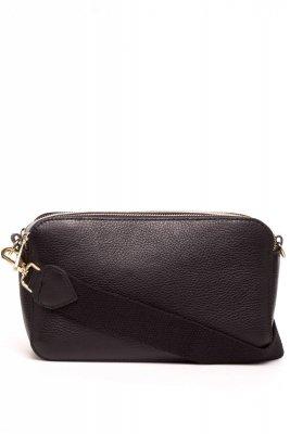 SB529 Skórzana torebka z paskiem - czarna