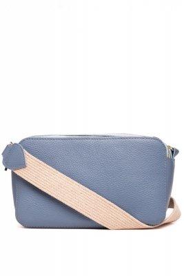 SB529 Skórzana torebka z paskiem - niebieska
