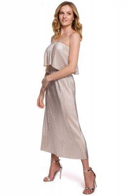 K059 Metaliczna sukienka midi z falbaną u góry - złota