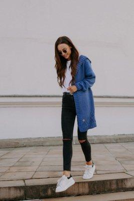 Klasyczny kardigan z kapturem LS300 jeans