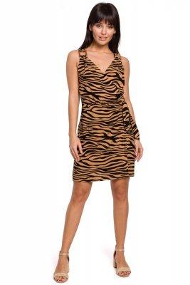 B156 Sukienka mini z nadrukiem z wiązaniem na boku - karmelowa