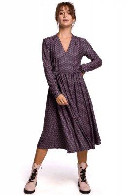 B170 Sukienka we wzór rozkloszowana z zamkiem - model 2